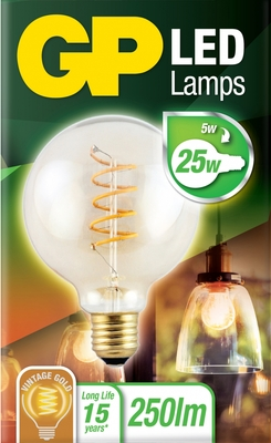 gp led Globe Filament 5w e27 (25w) Gold